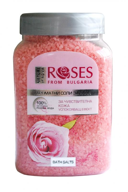 Bath salt ROSES with 100% natural water 500g