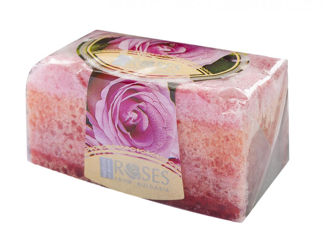 Natural hand made glycerin soap ROSES with sponge 55g