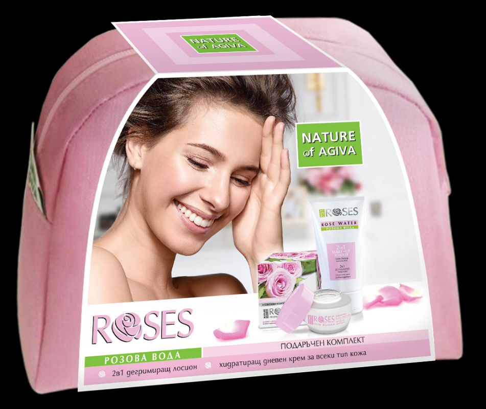 Gift set for women ROSE in cosmetic bag Make up remover 2in1 150ml Day cream 50ml